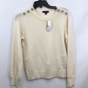 J Crew Crewneck Jewel  Buttons Wool Blend Sweater